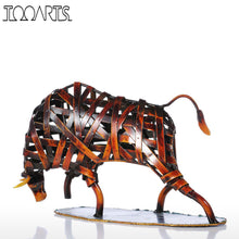 Tooarts Metal Weaving Cattle Statuette Red Iron Art Sculpture Figurine Modern Home Decoration Accessories Animal Craft Gift