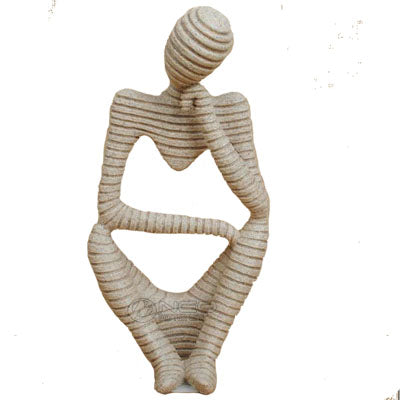 ERMAKOVA Abstract Art Thinker Statue Thinking of You Figurine Natural Sandstone Crfats Sculpture Modern Home Office Desk Decor