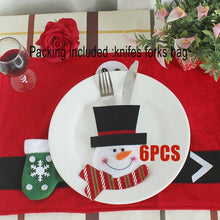 6Pcs Christmas Ornament New year Christmas Decoration for home table Decor Cutlery pocket Fork&Knife Tableware pouch santa claus