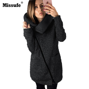 Missufe 5XL Plus Size Long Women Coats Side Zipper 2017 Autumn Winter Down Coat With Pockets Turn Down Collar Female Jackets