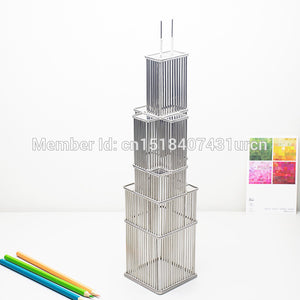 FREE SHIPMENT J19 WILLIS/SEARS TOWER MODEL/SCULPTURE STAINLESS HAND-MADE ART CRAFTS WEDDING&BIRTHDAY&HOME&OFFICE&GIFT&PRESENT