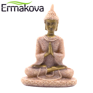 "ERMAKOVA 8cm(3.1"")Tall Mini Thailand Buddha Statue Fengshui Sculpture Natural Sandstone Buddha Figurine Home Office Decor"