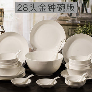 For the white bone china tableware suit 56 garland dishes simple household ceramic plate microwave oven