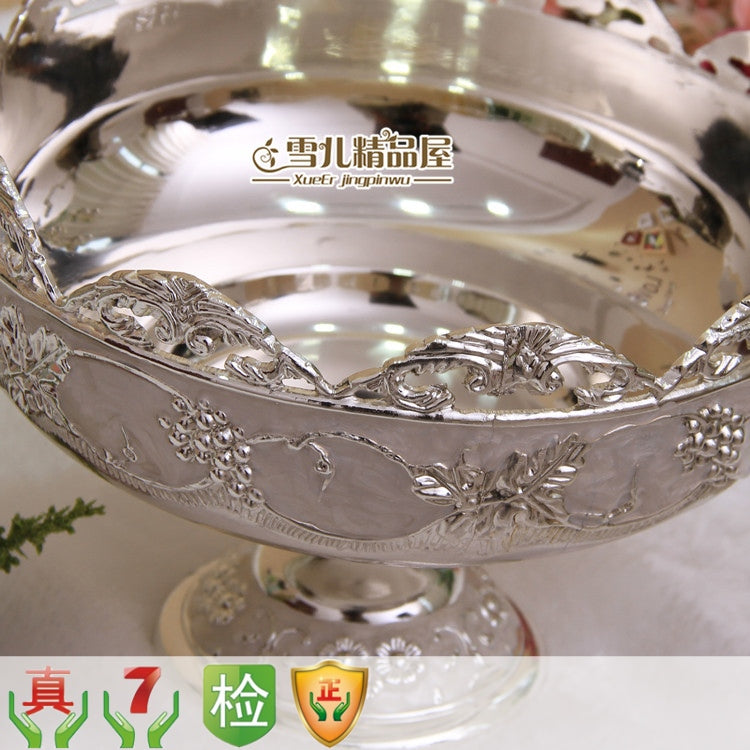 European zinc alloy silver carving flower disc fruit bowl bowl trophy Home Furnishing decoration luxury KTV fruit peel bowl