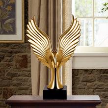Golden/ Silver Creative Home Decor Eagle Wing Abstract Sculpture Decoration Figurine Decorative Resin Hawk Statue TV Background