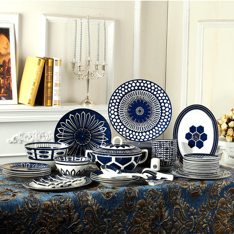 top ceram fashion dinnerware set 48pcs bone china  flat dishes plates casserole household rice bowl marry gift