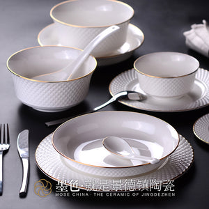 The black suit Jingdezhen dishes bone china tableware 50 head household ceramic dishes and dishes simple relief Jinling