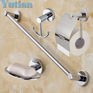 Free shipping,Round 304# Stainless Steel  Bathroom Accessories Set,Soap dish,Robe hook,Paper Holder,Towel Bar,4 pcs/set,YT10900B