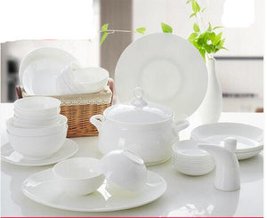 High-grade Tangshan bone china tableware set, 56 ceramic household wedding pure white dishes plate