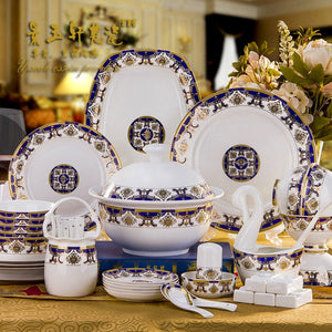 60 PIECES Guci  Dishes in Jingdezhen set ceramic bowl creative household high-end European  bone china tableware set home
