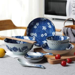 Jingdezhen Ceramic Tableware Japanese-style Underglaze Color Ceramic 11 Pieces Western Ceramic Tableware Set Household Dishes