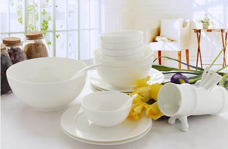 Bone china tableware set 22 skull porcelain home Korean ceramic pure white dishes plates