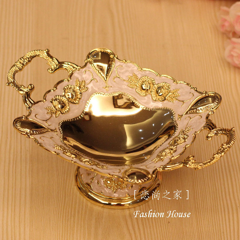 quality luxury fashion alloy small fruit plate royal decoration dried fruit plate home decoration dish