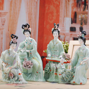 ancient Vivid jingdezhen ceramic classical beauty porcelain sculpture home decoration crafts decoration  statue