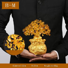 Chinese Modern Pure Handmade Yellow Upscale Crystal Tree Art Sculpture Tea Ceremony Wine Cabinet Crafts Home Decoration Ornament