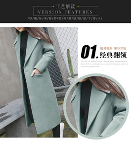 Women Autumn Winter Coats Jackets Warm Wool Blends Vintage Loose Solid Oversized High Quality Winter Long Coat H479