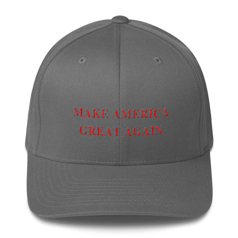 8b49997a Donald Trump Hat Make America Great Again Grey Fitted Flexfit for Men and  Women - LiberTee