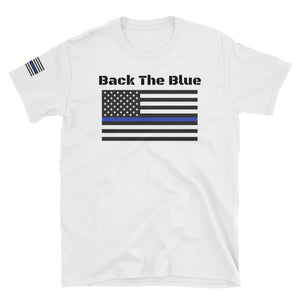 NEW Blue Line Flag Police Officer Blue Lives Matter Back The Blue Black T-Shirt