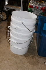 Stacked 5 Gallon Dubia Roach Frass sifting buckets