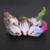 5 Pcs Fleece False Mouse 10 cm  Cat Toys Colorful Feather Funny Playing Toys For Cats Kitten - M.R. Pet Supplies