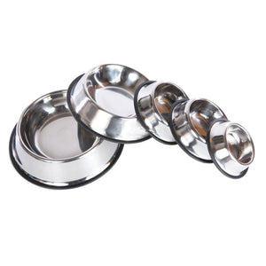 Stainless Steel Non Slip Feeding Food / Water Dish Bowls for Pets - M.R. Pet Supplies
