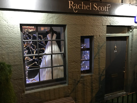 Christmas window at rachel scott Couture