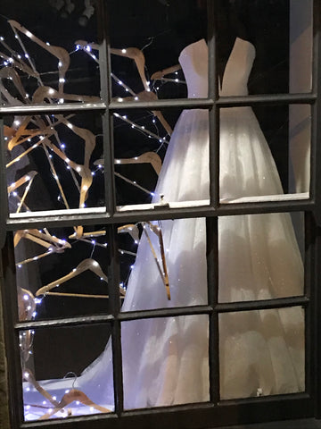 Christmas window display at Rachel Scott Couture