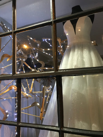 Festive window display at rachel scott Couture