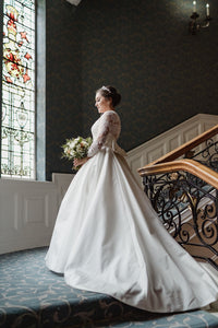 Sophisticated ballgown elegance for this chic bride, finished with the most gloriously dramatic veil hand made by her mother!