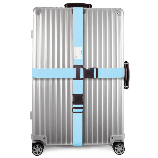 ✅ Heavy Duty Luggage Cross Strap Suitcase Belts - with Personalised Baggage Claim Identifier Address Label (Bright Blue) - One-Wear