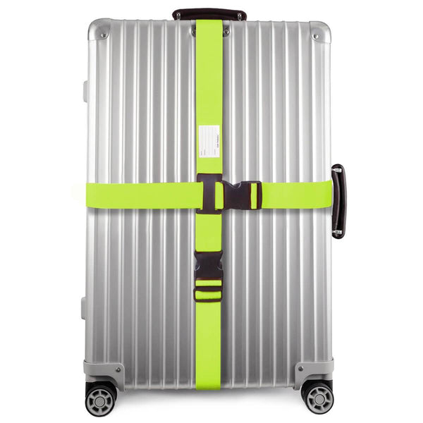 ✅ Heavy Duty Luggage Cross Strap Suitcase Belts - with Personalised Baggage Claim Identifier Address Label (Bright Green) - One-Wear