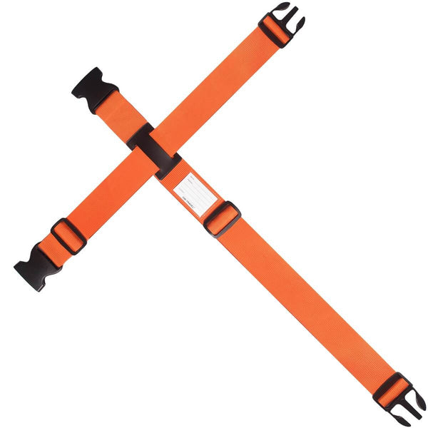 OW Travel Personalised Luggage Case Cross Straps for Suitcases and Luggage - Orange - Extendable Long Universal Luggage Strap