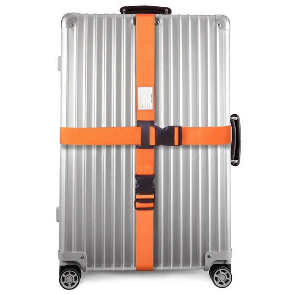 ✅ Heavy Duty Luggage Cross Strap Suitcase Belts - with Personalised Baggage Claim Identifier Address Label (Bright Orange) - One-Wear