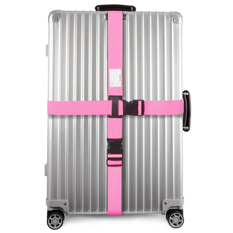 ✅ Heavy Duty Luggage Cross Strap Suitcase Belts - with Personalised Baggage Claim Identifier Address Label (Bright Pink) - One-Wear