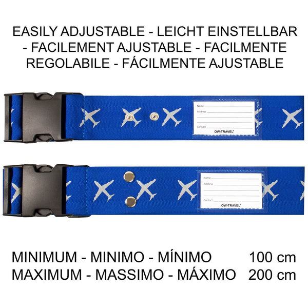 OW Travel Personalised Luggage Case Cross Straps for Suitcases and Luggage - Planes Blue - Easily Adjustable Heavy Duty Cross Luggage Straps