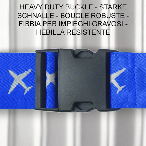 OW Travel Personalised Luggage Case Cross Straps for Suitcases and Luggage - Planes Blue - Heavy Duty ABS Plastic Buckle Closure