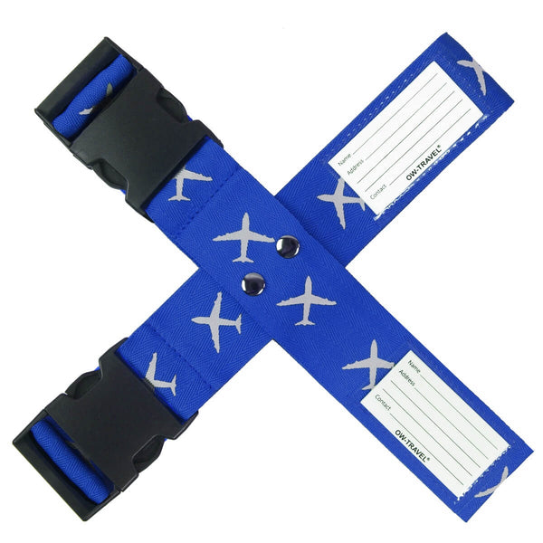 OW Travel Personalised Luggage Case Cross Straps for Suitcases and Luggage - Planes Blue - Personalised Baggage Claim Identifier Cross Luggage Strap