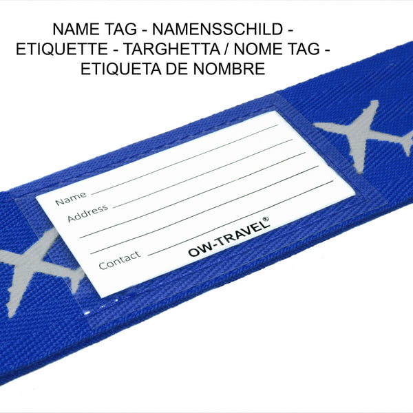OW Travel Personalised Luggage Case Cross Straps for Suitcases and Luggage - Planes Blue - Personalised ID Card and Address Label Cross Luggage Strap