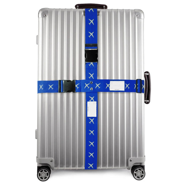 OW Travel Personalised Luggage Case Cross Straps for Suitcases and Luggage - Planes Blue -  Suitcase with Brightly Coloured Cross Luggage Strap