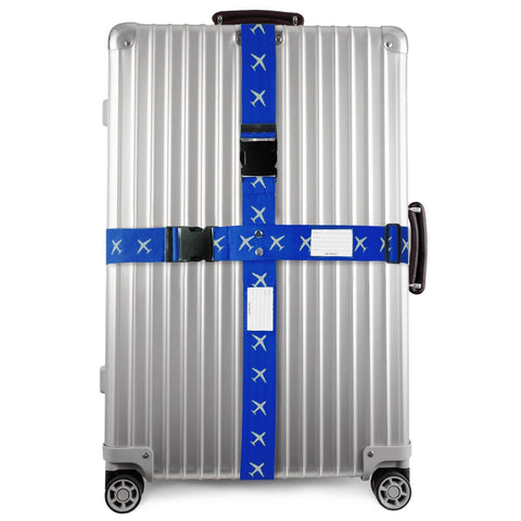 ✅ Heavy Duty Luggage Cross Strap Suitcase Belts - with Personalised Baggage Claim Identifier Address Label (Blue) - One-Wear