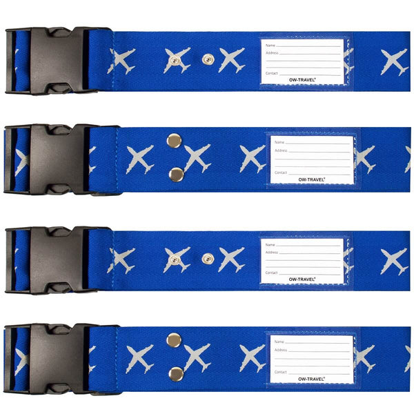 OW Travel Personalised Luggage Case Cross Straps for Suitcases and Luggage - Planes Blue 4 Pack - Heavy Duty Cross Luggage Strap