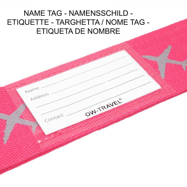 ✅ Heavy Duty Luggage Cross Strap Suitcase Belts - with Personalised Baggage Claim Identifier Address Label (Pink) - One-Wear