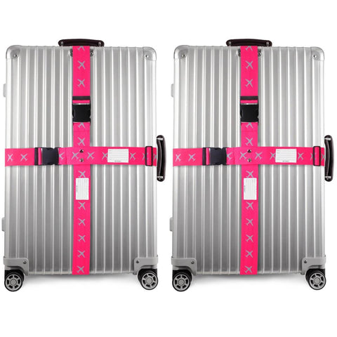 OW Travel Personalised Luggage Case Cross Straps for Suitcases and Luggage - Planes Pink 2 Pack -  Suitcase with Brightly Coloured Cross Luggage Strap