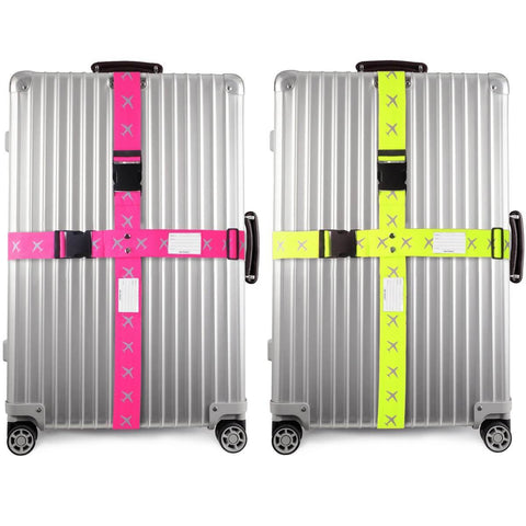 OW Travel Personalised Luggage Case Cross Straps for Suitcases and Luggage - Planes Pink + Yellow 2 Pack - Heavy Duty Extendable Cross Luggage Strap