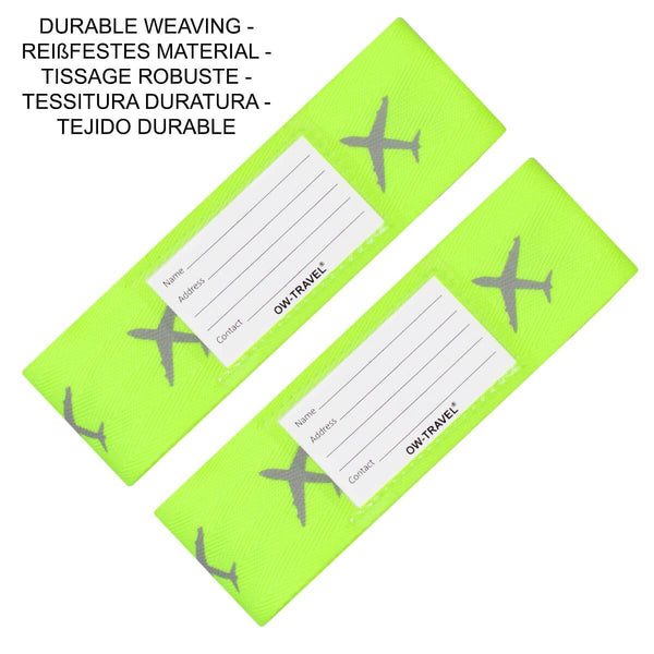 OW Travel Personalised Luggage Case Cross Straps for Suitcases and Luggage - Planes Yellow - Durable Weaving Nylon Cross Luggage Strap
