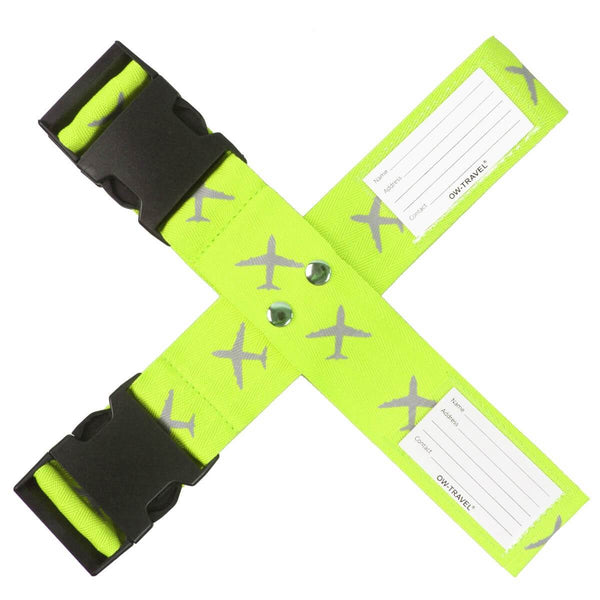 OW Travel Personalised Luggage Case Cross Straps for Suitcases and Luggage - Planes Yellow - Personalised Baggage Claim Identifier Cross Luggage Strap