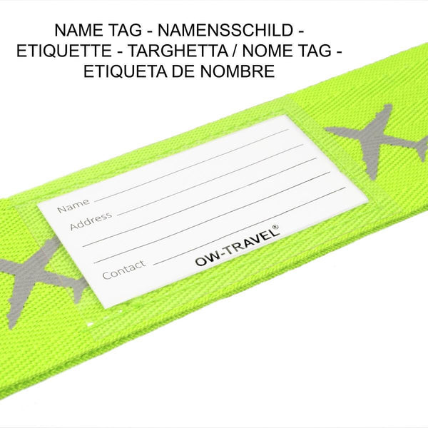 OW Travel Personalised Luggage Case Cross Straps for Suitcases and Luggage - Planes Yellow - Personalised ID Card and Address Label Cross Luggage Strap