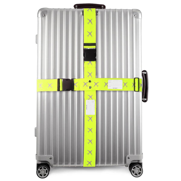 OW Travel Personalised Luggage Case Cross Straps for Suitcases and Luggage - Planes Yellow -  Suitcase with Brightly Coloured Cross Luggage Strap