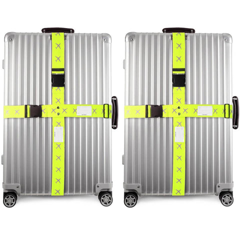 OW Travel Personalised Luggage Case Cross Straps for Suitcases and Luggage - Planes Yellow 2 Pack -  Suitcase with Brightly Coloured Cross Luggage Strap