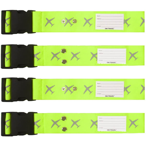 OW Travel Personalised Luggage Case Cross Straps for Suitcases and Luggage - Planes Yellow 4 Pack - Heavy Duty Cross Luggage Strap